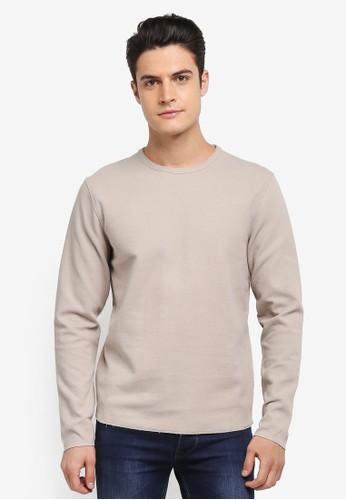 Selected Homme beige Russel Crew Neck Sweatshirt 32A94AAE5AFB0FGS_1