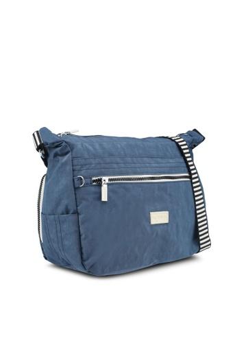 Shop Bagstationz Crinkled Nylon Multi-Compartment Sling Bag With Zebra  Strap Online on ZALORA Philippines 129296afc6c8b