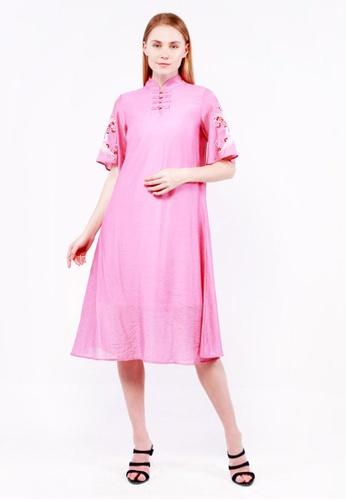 nicole pink nicole - Mandarin Collar Short Flare Sleeve With Embroidery Maxi Dress 0CDC4AA240F088GS_1
