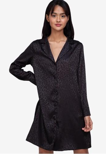 ZALORA BASICS black Satin Shirt Dress 29932AA185661EGS_1