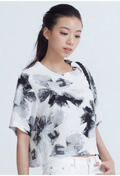 [IMPORTED] Artsy Watercolor Blooming Top - Grey