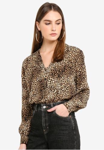 675e1bd26077 Buy TOPSHOP Leopard Long Sleeve Shirt Online on ZALORA Singapore