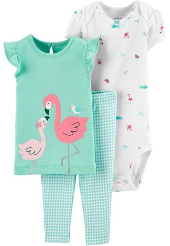 Carter's green CARTER'S Girl Flamingo Bodysuit Pant Set B2236KA386FAF0GS_1