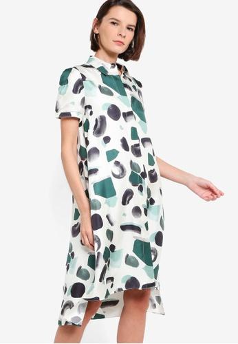 ck CALVIN KLEIN green PRINTED SILK TWILL DRESS 979CFAA09C90D1GS_1