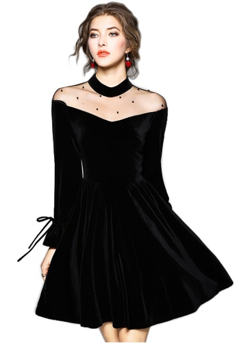 53f9d7dd0c86e New Black Velvet See Through One Piece Dress UA012402