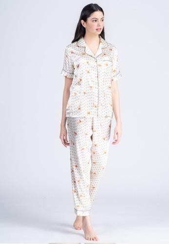 FEMINISM white Silk Shortsleeve Pajama 55D12AAFB70110GS_1