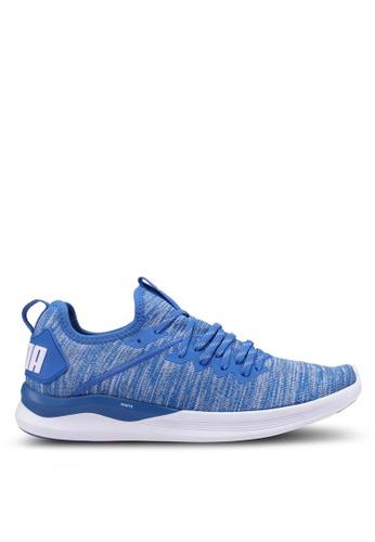 Puma blue Ignite Flash EvoKnit Running Shoes A7F46SHDBC48A1GS_1