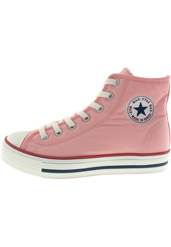 Maxstar 粉紅色 新款韩国鞋C1-7H時尚帆布布混合女粉紅色 US Women Size MA345SH02HERTW_1