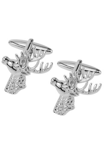 CUFF IT silver Silver Stag Deer Head Cufflinks CU047AC2VXN1HK_1