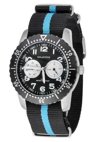 EGLANTINE silver EGLANTINE® Terrenz Unisex Steel Quartz Watch Black Dial on Black/Turquoise NATO Strap 6361DAC9A6C69CGS_1