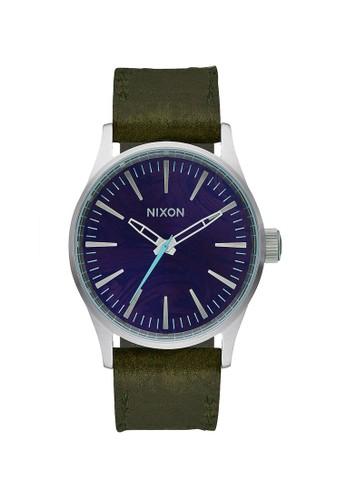 Nixon green NIXON Sentry 38 Men Purple Dial Green Olive Leather Strap EA9F6ACC97DF8AGS_1