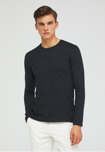Sisley grey Striped Regular Fitt T-shirt F9A2AAAD186906GS_1