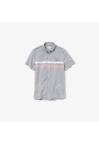 b0a3fcfbd2 Men's Slim Fit Tricolour Striped Cotton Short Sleeves Shirt - CH4892-10