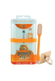 Powerbank 12000mAh with FREE Mobile Ring Holder and USB LED Light