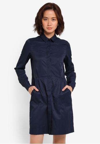 ZALORA navy Button Through Long Sleeve Shirt Dress ECE50AA82D9E31GS_1