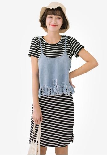 Tokichoi black Denim Cami Crop Top and Stripe Dress 742CFAA86D5F4CGS_1