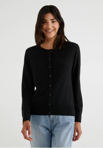 United Colors of Benetton 黑色 素色休閒開襟針織外套 8AEF2AAD29AF36GS_1