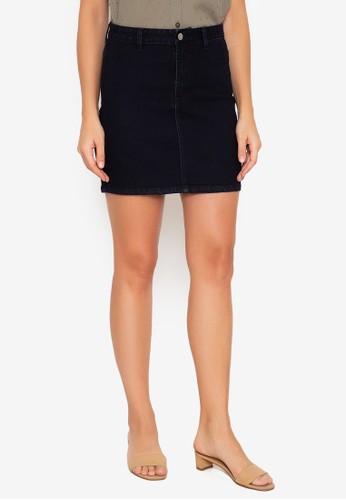 ZALORA BASICS black Stretch Denim Mini Skirt E09ABAA9D50B76GS_1