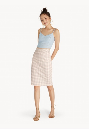 114423287f Buy Pomelo Gingham Pencil Skirt - Pink Online on ZALORA Singapore