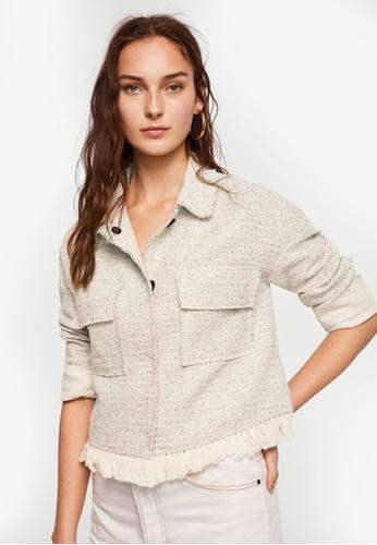 Mango beige Pocket Tweed Jacket F7B4DAA1685618GS_1