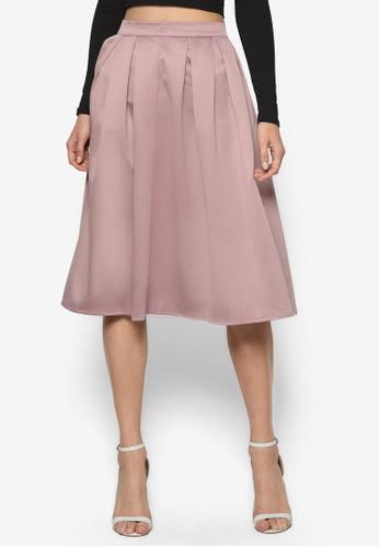 綢緞褶飾A 字及膝裙, 服飾, 裙esprit旗艦店子