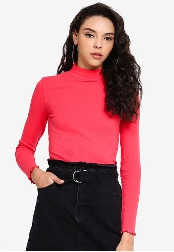 Factorie 紅色 羅紋褶飾長袖上衣 C74CEAA4D2CA35GS_1