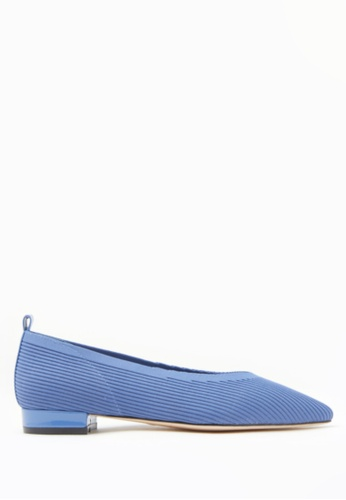 PAZZION blue Knit Effect Pointed Leather Pointy Flats 12B1ESHC01A1BEGS_1