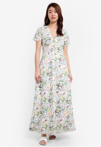 ZALORA white Printed Maxi Dress 93C5CAA1B12557GS_1