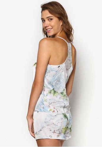Amalia 蕾絲拼esprit outlet接印花睡衣套裝, 服飾, 服飾