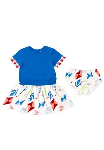 OETEO white and blue and multi Road Trip Fringed Sleeve Dress (Blue) 12C62KAE1DC785GS_1