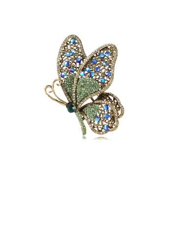 Glamorousky green Elegant Vintage Plated Gold Butterfly Brooch with Green Cubic Zirconia 83FA1AC867F328GS_1