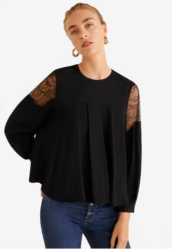 Mango black Lace Panel Blouse 0D493AA7B75953GS_1