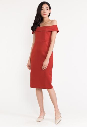 BEBEBEIGE red BebeBeige Off Shoulder Slim Fit Midi Cocktail/Evening Dinner Dress 71097AAB61B517GS_1