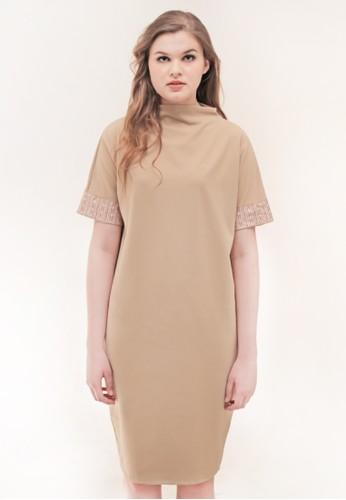 Gi & Ne (Giane) Official brown Freyja Semi Formal Midi Loose Office Dress B462AAA5C59E4BGS_1