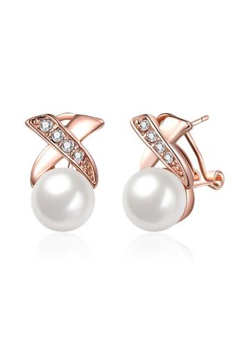 Korean Fashion Cross Pearl Earrings
