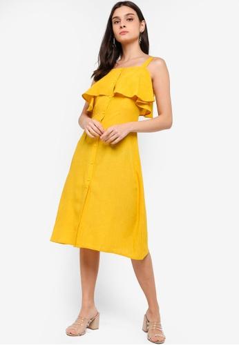 ZALORA yellow Button Down Ruffles Dress EFE2FAABB0DA5EGS_1