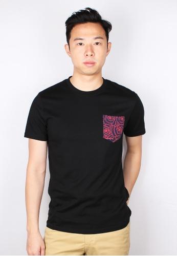 Moley black Floral Print Pocket T-Shirt BE559AA7C6B667GS_1