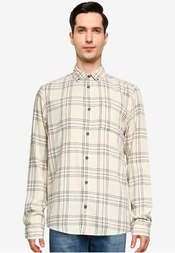 Only & Sons beige Eamon Long Sleeve Checked Shirt 39DF7AA5E290AEGS_1