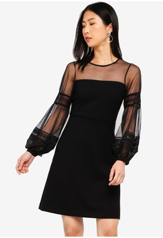 5957f411b1 French Connection black Paulette Jersey Puff Sleeve Dress 00C4EAA34E0897GS 1
