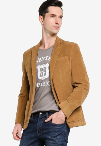 Sacoor Brothers brown Men's Classic Slim Fit Blazer Made in Portugal 0386EAACD25622GS_1