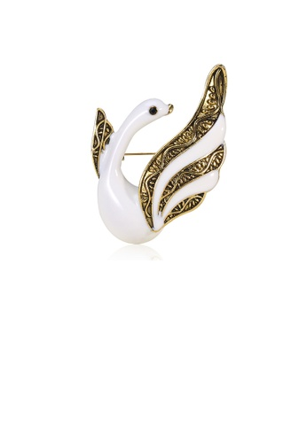 Glamorousky silver Fashion and Elegant Plated Gold White Swan Brooch 86348AC99BF9B8GS_1