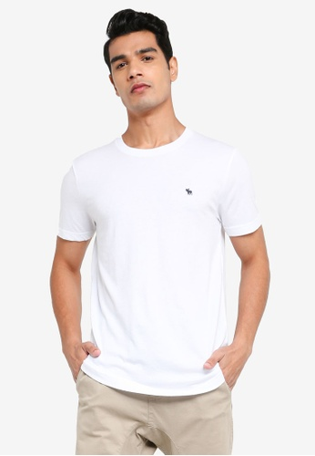 ABERCROMBIE & FITCH white Webex Icon Curved Hem T-shirts 7F955AAC07FBD5GS_1