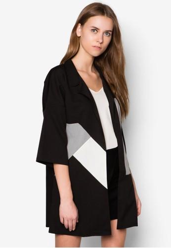 色塊幾何圖形開襟外套,zalora 心得 ptt 服飾, 西裝外套