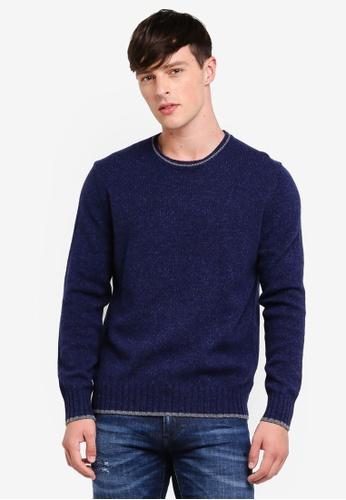 United Colors of Benetton 藍色 經典素色保暖圓領長袖毛衣 FBCD3AA2E5F120GS_1