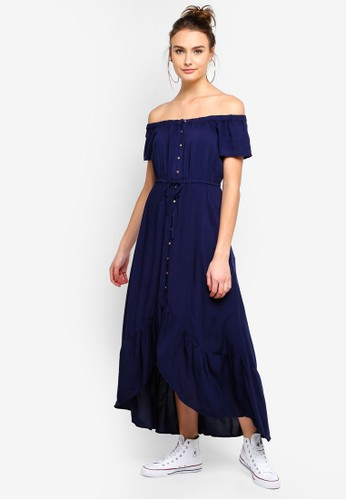 Cotton On navy Woven Willa Off The Shoulder Dress 75969AA86F557CGS_1