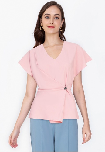 ZALORA WORK pink Wrapped Button Top 4F3DAAABC8FB79GS_1