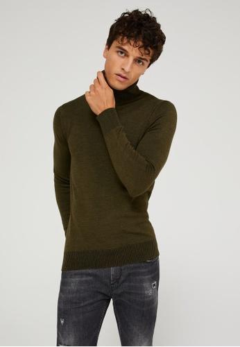 SISLEY 綠色 高領舒適長袖針織衫 92A18AAC4EE761GS_1