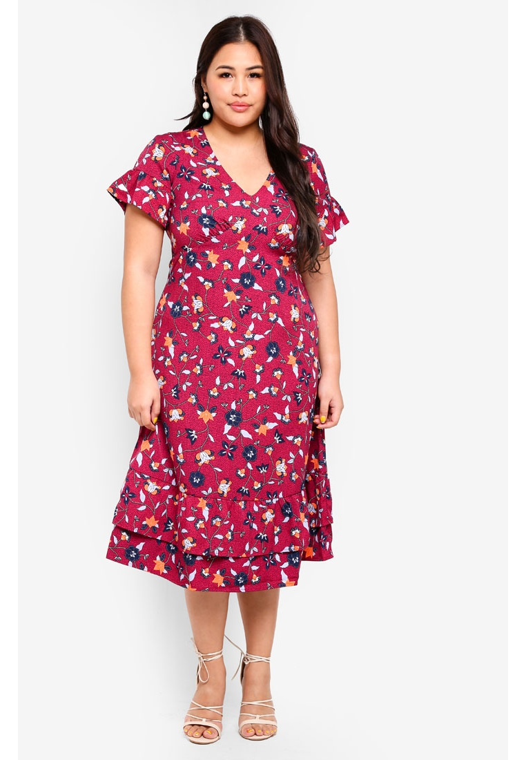 Midi Rumba Size Hivas Plus Dress Red Junarose qgtnXRwxO