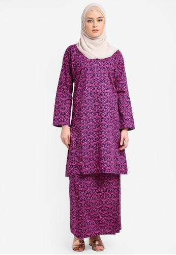Azka Collection pink English Cotton Baju Kurung AZ019AA0RTSJMY_1