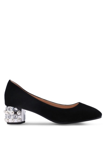 prettyFIT black Pearl And Rhinestone Embedded Pumps E7150SHDEAA9FAGS_1
